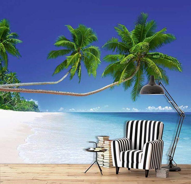 Poster panoramique exotique : palmiers sur la plage