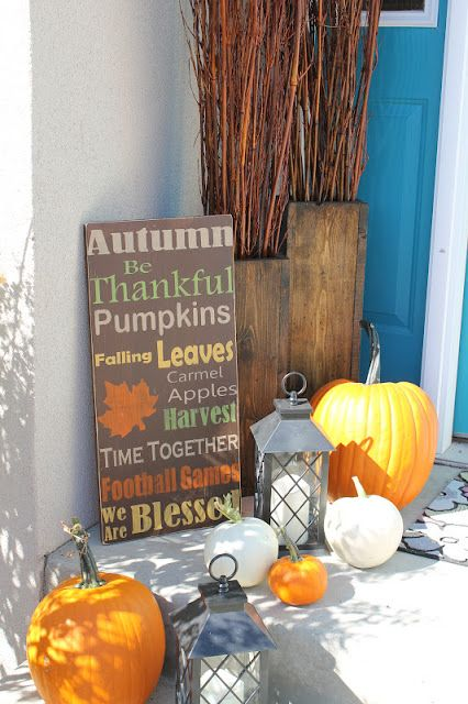 Unique By U : DIY Wooden Vases. And sign for fall porch decorating