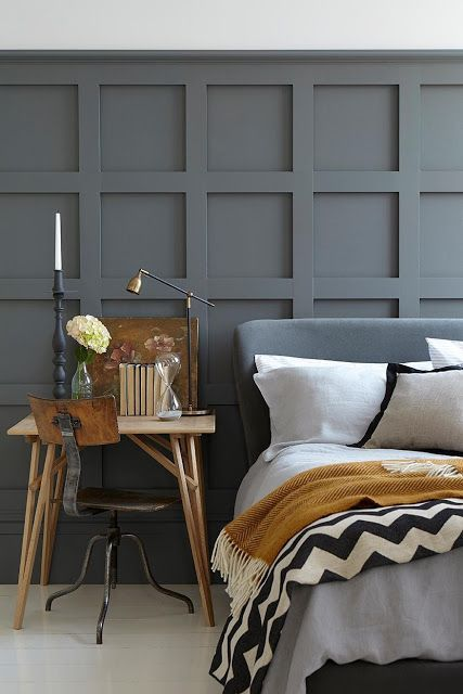 Gorgeous grey and gold combination keeps this bedroom looking modern yet homely.