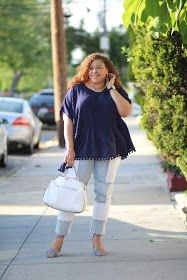 Roaman's Patchwork Jeans and Fringe Tassel Shirt