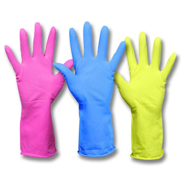 Household Rubber Gloves from JustGloves.co.uk - Household 'Marigold' style rubber gloves with a soft inner lining