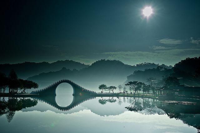 Moon rising in Dahu Park, Taipei