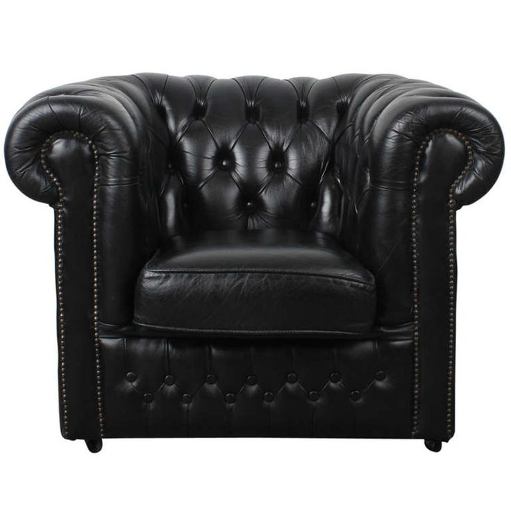 English Black Leather Vintage Chesterfield Lounge Chair   From a unique collection of antique and modern lounge chairs at http://www.1stdibs.com/furniture/seating/lounge-chairs/