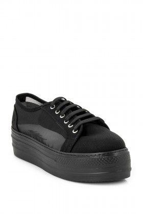 Eda Taşpınar Platform Bağcıklı Siyah Spor Ayakkabı: Lidyana.com
