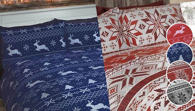 Festive Cotton Brushed Flannelette Bedding Set - 4 Sizes Inject some spirit into your interior with these Festive Flannelette Duvet and Pillowcase Set      Designs include Stockholm (alpine Nordic) and Bergen (stags and snowflakes) prints      Set includes: duvet cover and pillowcases      Please see 'Full Details' for dimensions      Perfect for adding a bit of Christmas cheer to your...