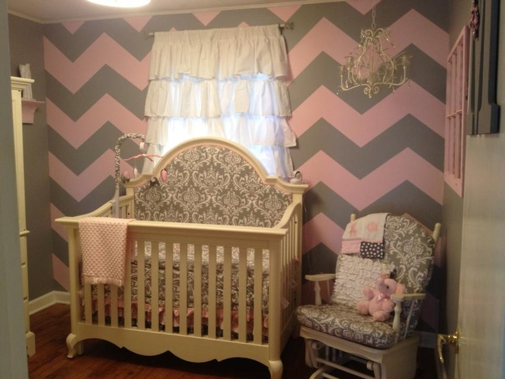 Mila's chevron/elephant/damask nursery. Pink and grey.