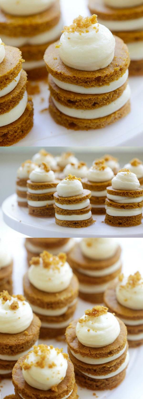 The cutest pumpkin cake recipe ever! Layers of pumpkin cake with cream cheese frosting, perfect dessert for holidays | rasamalaysia.com