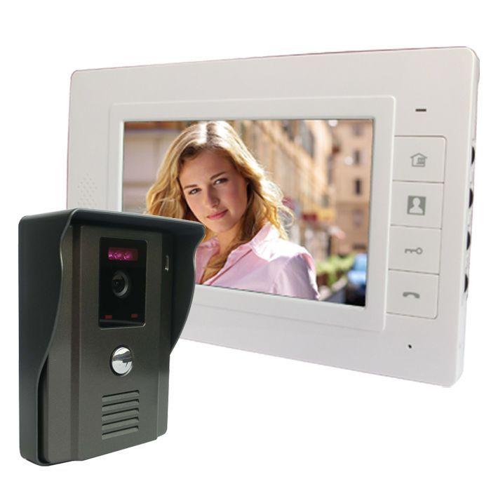 """7 """"warna Video Pintu Interkom Telepon Video Pintu Interkom Bel Kit membuka Pintu telepon dengan IR Night Vision Camera untuk Apartemen"""