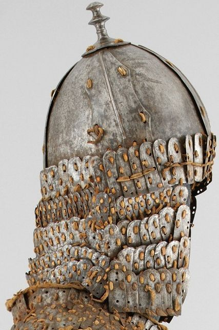 Tibetan helmet, possibly 16th–17th c. the distinctive helmets were made to match the armors and are likewise associated only with Tibet or the Tibetan cultural region. Like the armors, this type of helmet is constructed of iron plates joined by leather laces. Met museum.