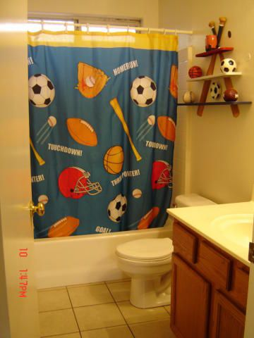 Baseball Themed Lamp Sports Theme Balls Touchdown Home Run Baseball Bathroom Shower Curtain