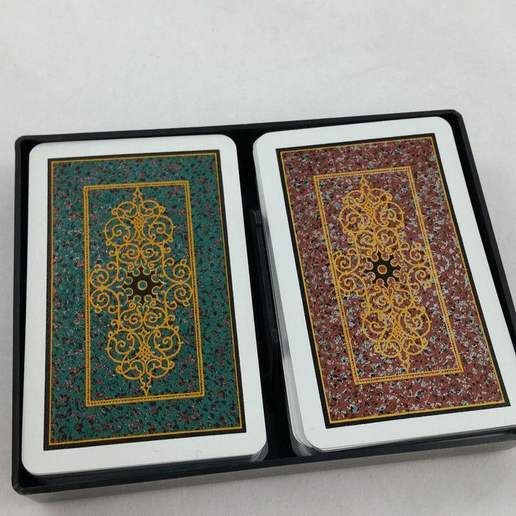 2 Decks Vintage 1981 KEM SCROLL Plastic Playing Cards w Hard Case Complete