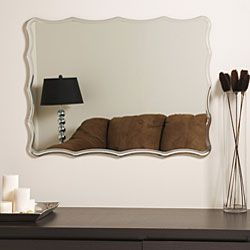 @Overstock - Let this up-to-the-minute contemporary frameless mirror be a reflection of your exquisite taste. This bathroom mirror has a wavy-edged design and silver trim for a brilliant look that sets a modern, contemporary tone in the bathroom. http://www.overstock.com/Home-Garden/Frameless-Ridge-Mirror/3504114/product.html?CID=214117 $93.99