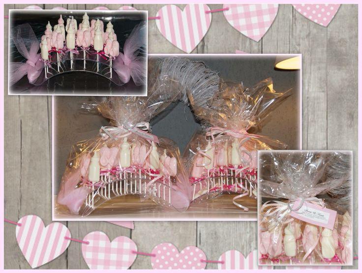 Geboorte chocolade lolly's (meisjes); melkflesje of slofje Sweet & Treats op Facebook