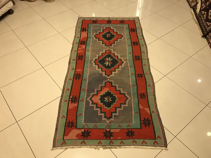 "Free Shipping, Green, Red and Gray Colored Cauasion Kilim, Floor Rug, Diamond Designed Beautifull Kilim Rug, 118x248 cms,(46,4""x97,6"" in) by OrientArtGallery on Etsy"