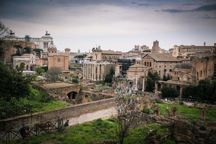 A Római fórum igazi időutazás. Romantikusabb látványt elképzelni sem tudok, mint a Római Birodalom hatalmas templomainak maradványait egy virágzó tavaszi napon. Belátni is óriási, hát még bejárni! A Colosseumhoz vett jegy ide is érvényes, úgyhogy kihagyni lehetetlen, mert ekkora méretű és ilyen szépen parkosított régészeti ásatást a világon nem találunk.