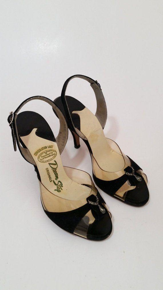 42d3a27c62772 Vintage 1950s Black Velvet and Clear Peeptoe Slingback Heels // 50s ...