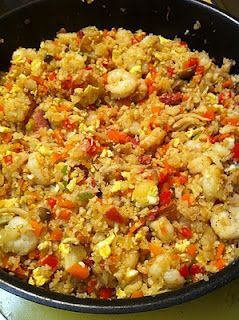 """No carb recipe ideas #Cauliflower fried """"rice"""" Comments: """"Tastes like real rice dish. Yum! Add shrimp, chicken, or beef. No carbs! #Keto """" """"I understand, it definitely is a better option but people on keto usually are counting exact carbs so saying that this is zero carbs is misleading. This dish could easily be more than half of someones daily carb allowance."""" """"Delicious, my family love this dish and we don't miss the rice."""" """"Could I make it 0 carbs by not adding the carrots?"""" Ingredients…"""