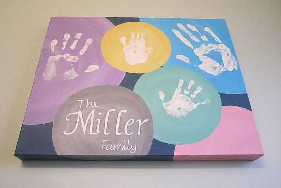 Any Color Circle Family Handprint Canvas Art by SnowFlowerArts