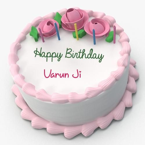 Write Name on Pink Floral Toppins Happy Birthday Cake
