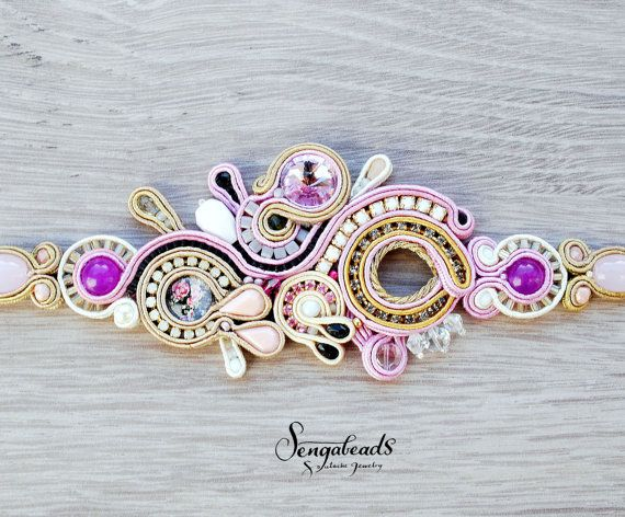 Luxurious handmade soutache bracelet with preciosa by Sengabeads