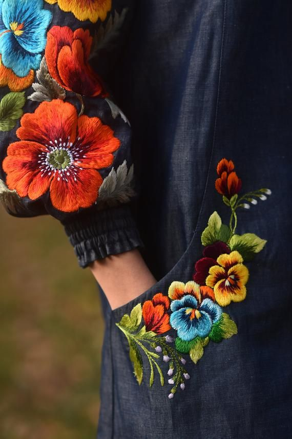 Embroidered dress, denim dress, office dress, knee length dress, floral dress, midi dress, loose fit dress, holiday dress women, boho dress