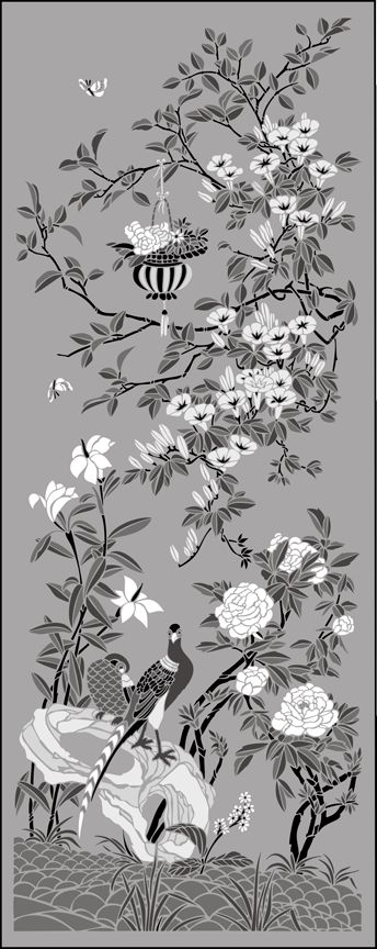 Click to see the actual CH9-L - Morning Glory Panel stencil design.