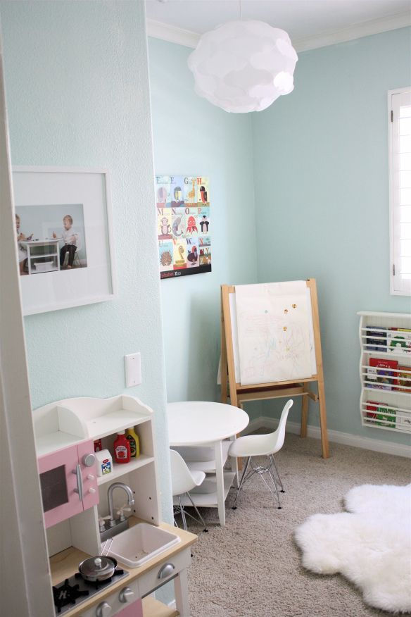 "Valspar ""gossamer sky"" Possible playroom color"