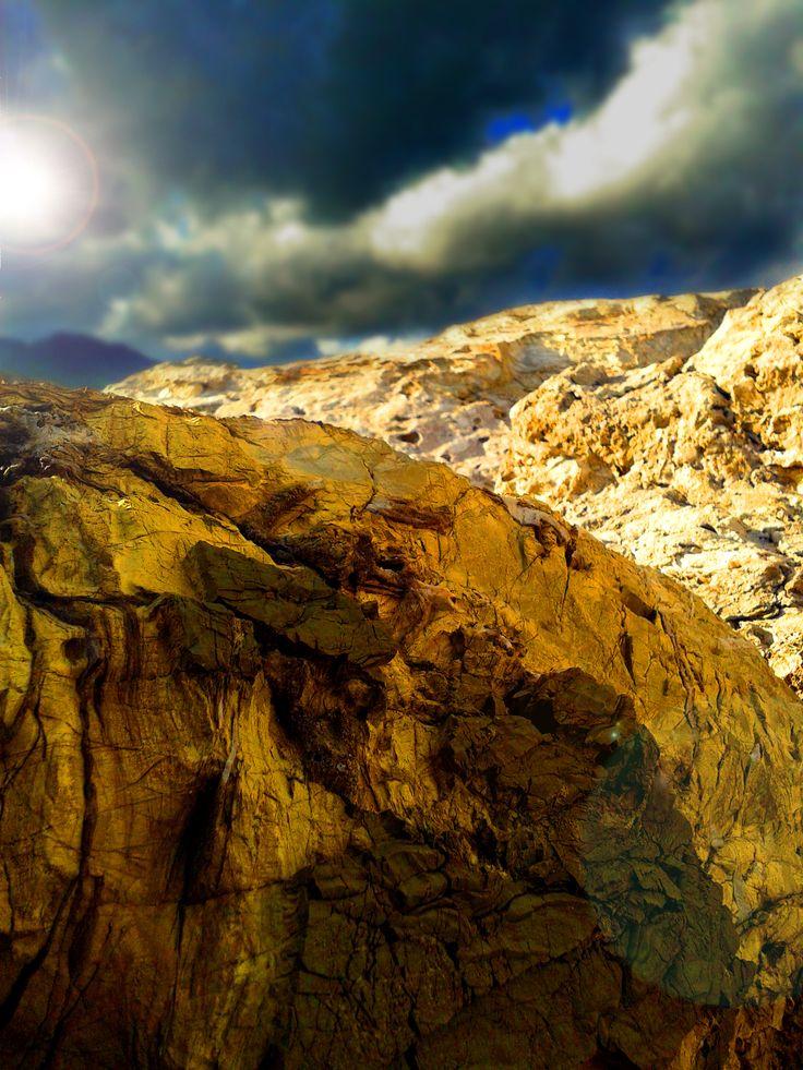 beautyful rocks with dramatic sky, Elba Island, Italy