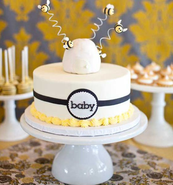 """What Will it Bee?"" Bumble Bee Baby Cake: Babyshowe Ideas, Baby Shower Cakes, Babyshower Ideas, Cakes Cupcakes, Babyshower Inspiracje, Thecakeblog Com Babyshower, Bumble Bees, Baby Cakes"