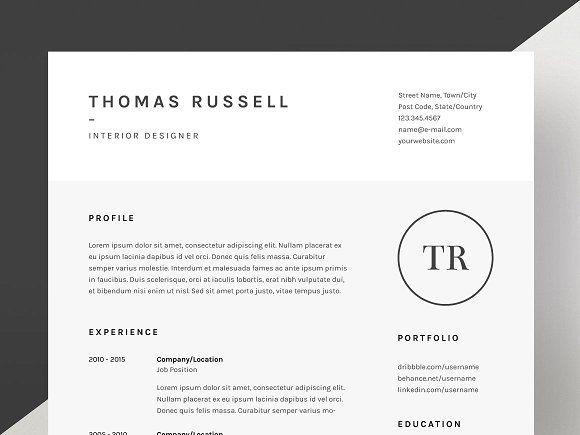Thomas Russell Resume Cv Template By Mats Peter Forss On Creativemarket Cv Template Resume Cv Resume Template