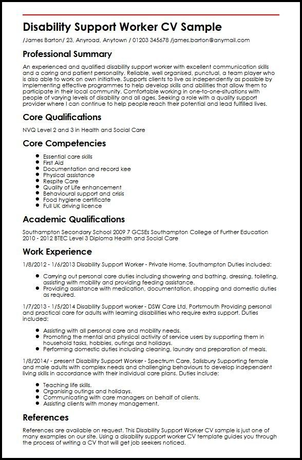 Great Cv Template Uk 2014 Idea in 2020 Support worker