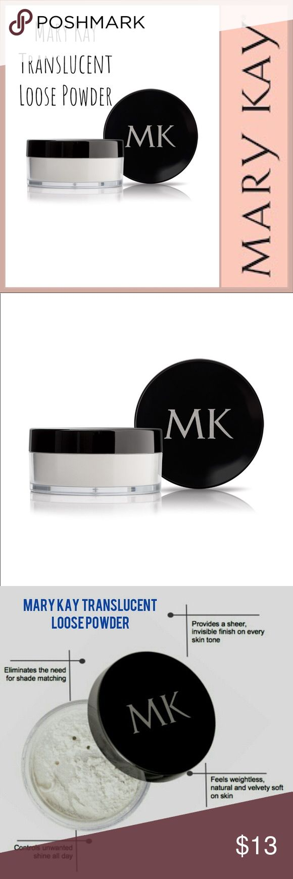 🆕 Mary Kay Translucent Loose Powder 🆕 Mary Kay Translucent Loose Powder ▪️Translucent. Sheer. It's every woman's perfect shade ▪️Universal powder eliminates the need for shade matching ▪️Feels weightless, natural and velvety soft on skin ▪️Controls unwanted shine all day ▪️Provides a sheer, invisible finish on every skin tone to set foundation ▪️All-new formula contains light-scattering properties designed to help soften the appearance of imperfections for a skin-perfecting finish ▪️NOTE…