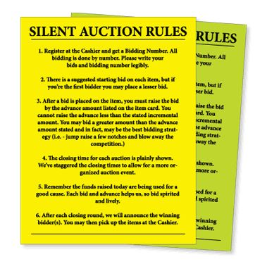 Silent Auction Rule Sheet (20/pack)