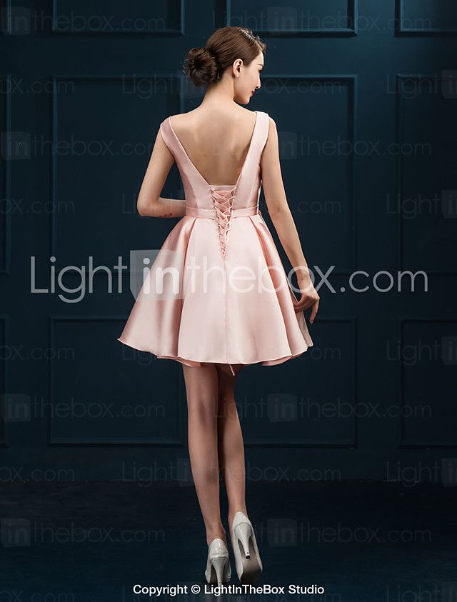 Cocktail Party Dress Ball Gown Scoop Short / Mini Satin with Sash / Ribbon 2017 - €39.19