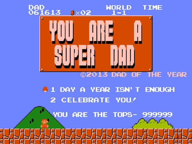 2013 Mario Fathers Day Card Printable and customizable template.