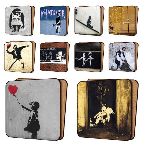 BANKSY Print Coasters Pack of 10 - NEW Art Coasters Furniture, Dinnerware Sets 11cm x 11cm by Art Okay, http://www.amazon.co.uk/dp/B008RVO9HE/ref=cm_sw_r_pi_dp_Yodxsb0AH4DPT