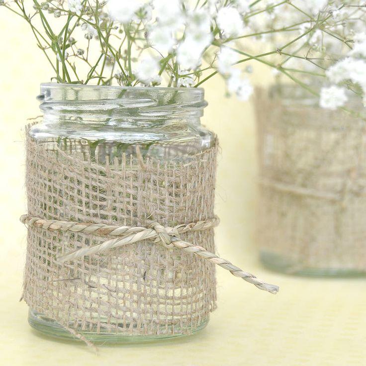 Candle holder or vase- start chopping the old hessian potato sacks :)