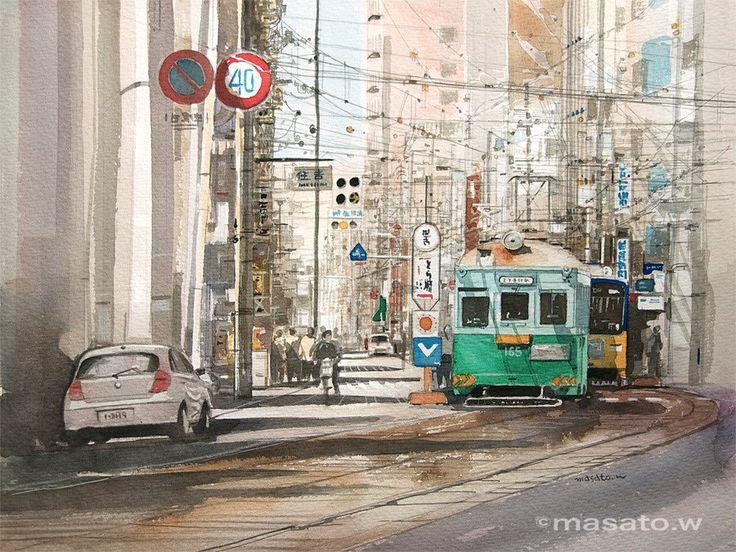 Artist Masato Watanabe  [Streetcar] Watercolor 路面電車 水彩 2011年