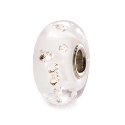 """The White Diamond Bead - """"Diamonds are a girl's best friend,"""" according to Marilyn Monroe in the 1953 film """"Gentlemen Prefer Blondes"""". Indeed, diamonds have always fascinated us. This crystal orb is embedded with 13 cubic zirconias. The bead is lined with white."""""""