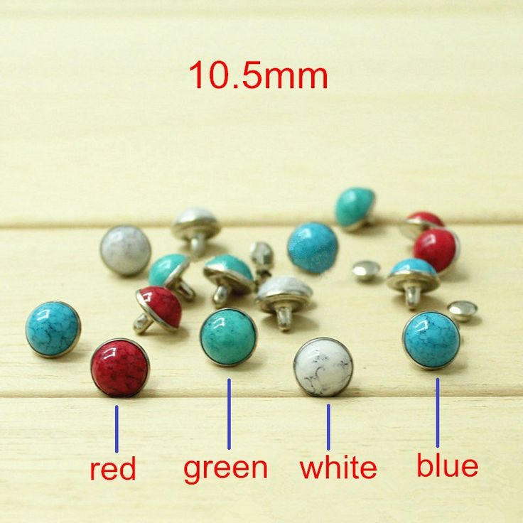Find More Garment Rivets Information about Free Shipping   Domed Turquoise Silver Color Metal Base Rivet Studs  Red,Green,Blue,White 10.5mm   70 Sets   Leather Craft Deco,High Quality rivet gloves,China rivet decoration Suppliers, Cheap craft fan from Fashionista Style on Aliexpress.com