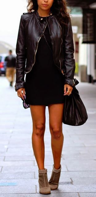 Simple black dress, black leather jacket and ankle boots. Great outfit for going out. recreate and save with Studentrate :)