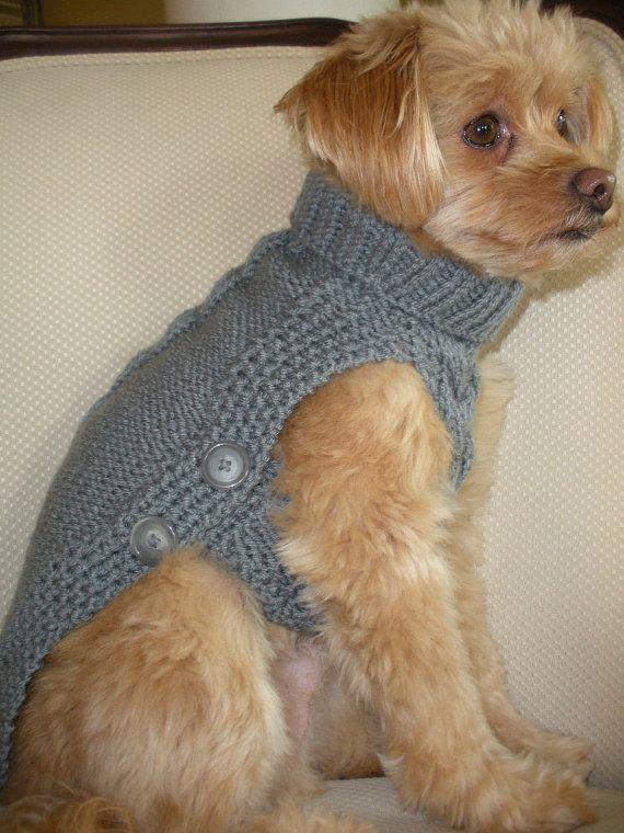 Tejida a mano suéter  armadura de cesta botón abajo  gris