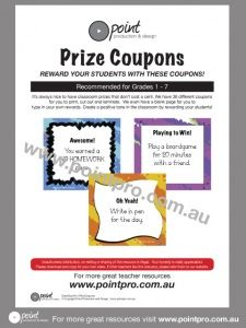 Save money throughout the year with these Prize Coupons for the classroom.