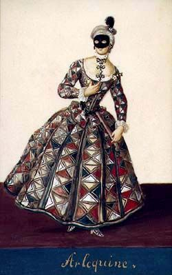 Harlequina, Schwarzenberg collection of theatralia and theatre repertoire, costume design, mid-18th century.