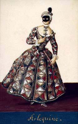 Harlequina, Schwarzenberg collection of theatralia and theatre repertoire, costume design, mid-18th century.