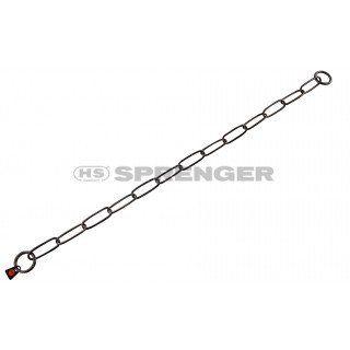 Aus der Kategorie Gliederhalsbänder  gibt es, zum Preis von   Hundehalskette aus geschwärztem Edelstahl vom Markenhersteller Sprenger. <br><br> Die Premiumklasse, wenn man von Kettenhalsbändern, Gliederhalsbändern oder Würgern spricht. <br><br> Hundehalskette mit langen Gliedern, also Typ: Langglied. <br><br> Die Halskette hat 2 Ringe an den Enden.<br> Das Gliederhalsband ist aus hochwertigem, geschwärzten Edelstahl gefertigt. <br><br> Das Kettenhalsband kann auf Zug eingestellt werden.<br…