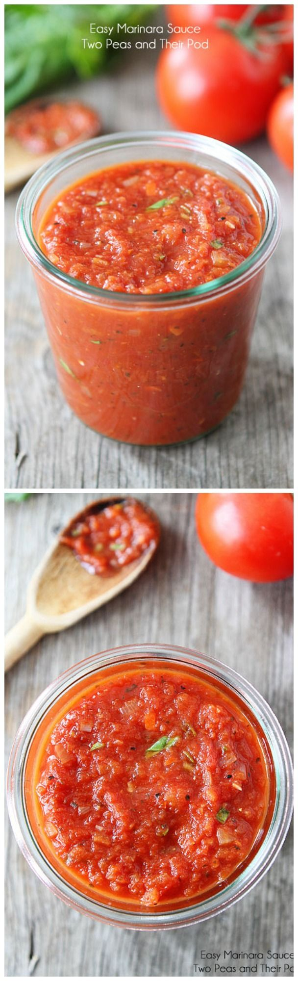 Easy Marinara Sauce Recipe on twopeasandtheirpod.com This is our go to marinara sauce recipe. It is SO easy and SO good!