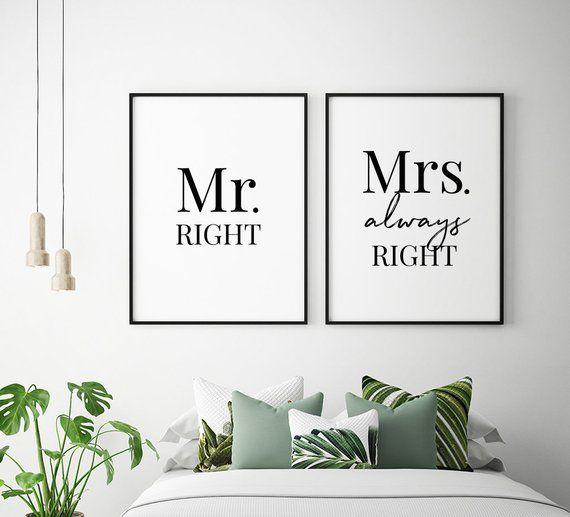 Mr Mrs Printable Art Set Of 2 Couple Bedroom Art Mr Right Mrs