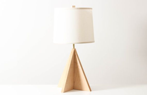 ... Lamp, Wooden Lighting, Modern Walnut Lamp, Geometric Table Lighting