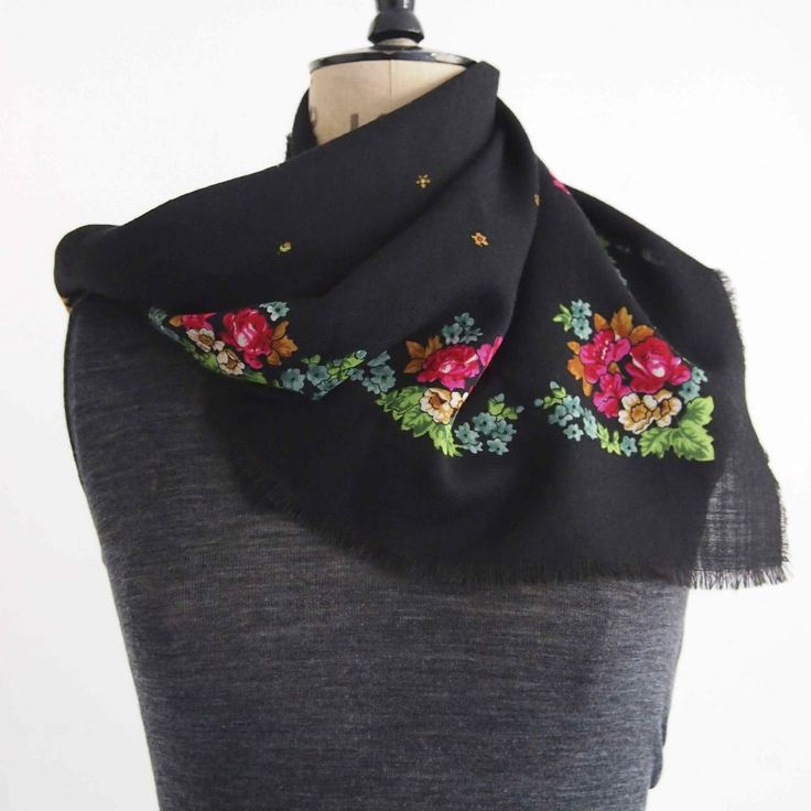 Vintage black wool scarf with richly coloured printed floral border and fringe